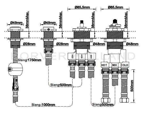 4-gats badrandthermostaat inbouwdeel
