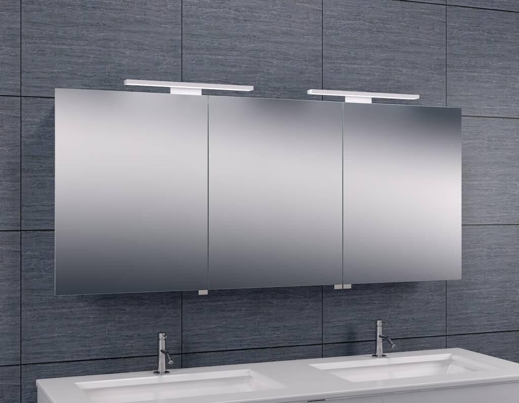 Wiesbaden luxe spiegelkast led verlichting 140x60x14cm for Verlichting badkamerspiegel