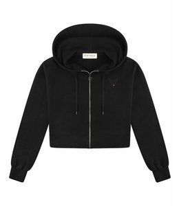 Etre Cecile Etre Cecile Oversized Crop Zip Up Hoodie Black