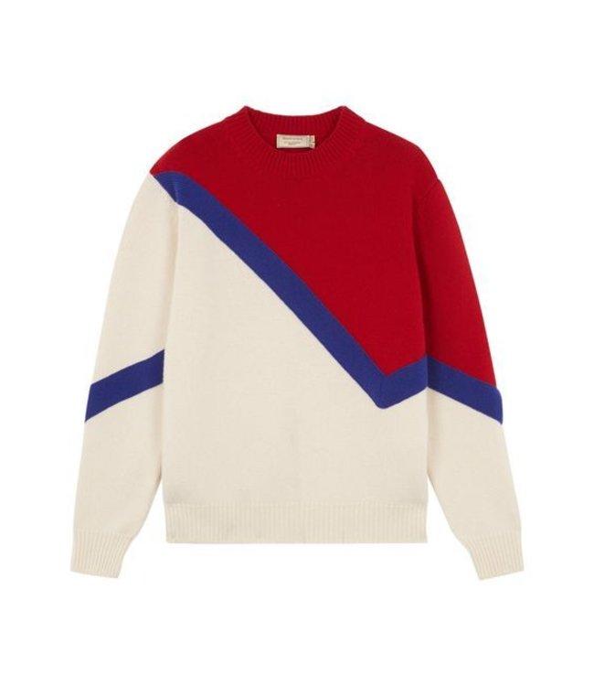 Maison Kitsune Kitsune Cheerleader Pullover Ecru/Red