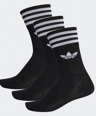 Adidas Adidas Solid Crew Sock Black White 3pack