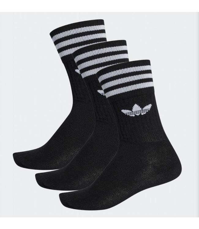 Adidas Adidas Solid Crew Sock Black White 3pack