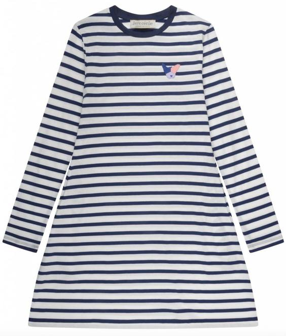 Etre Cecile Etre Cecile Dog Badge Aline Mini Dress Marine Breton