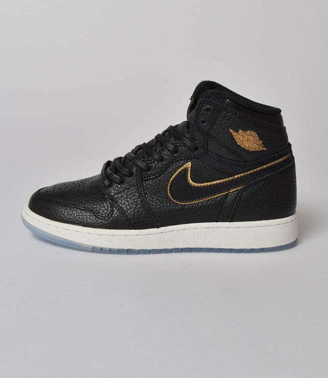 "Nike Nike Jordan 1 Retro Hi OG GS Black Metallic Gold 'Los Angeles"""