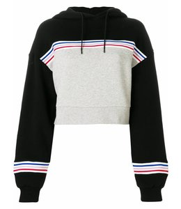 Etre Cecile Etre Cecile Colour Block Crop Hoodie Grey Black