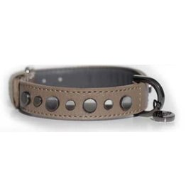 Milk & Pepper Leather collar Zak Tan brown with rivets Milk & Pepper