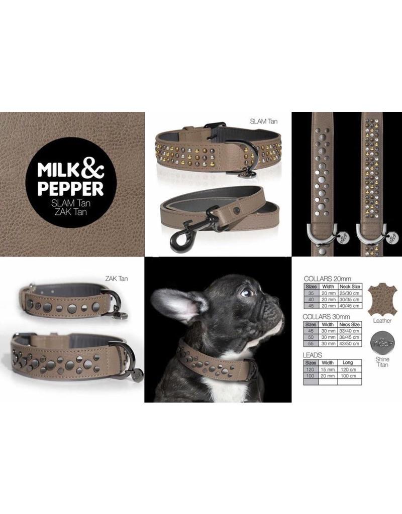 Milk & Pepper Hundeleine Leder Slam Tan Milk & Pepper