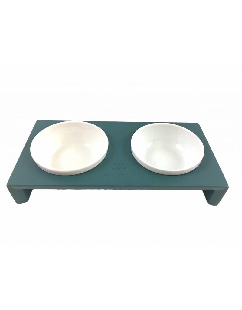 SIMPLY SMALL Feeding bowl - wood and ceramic - teal - SIMPLY SMALL