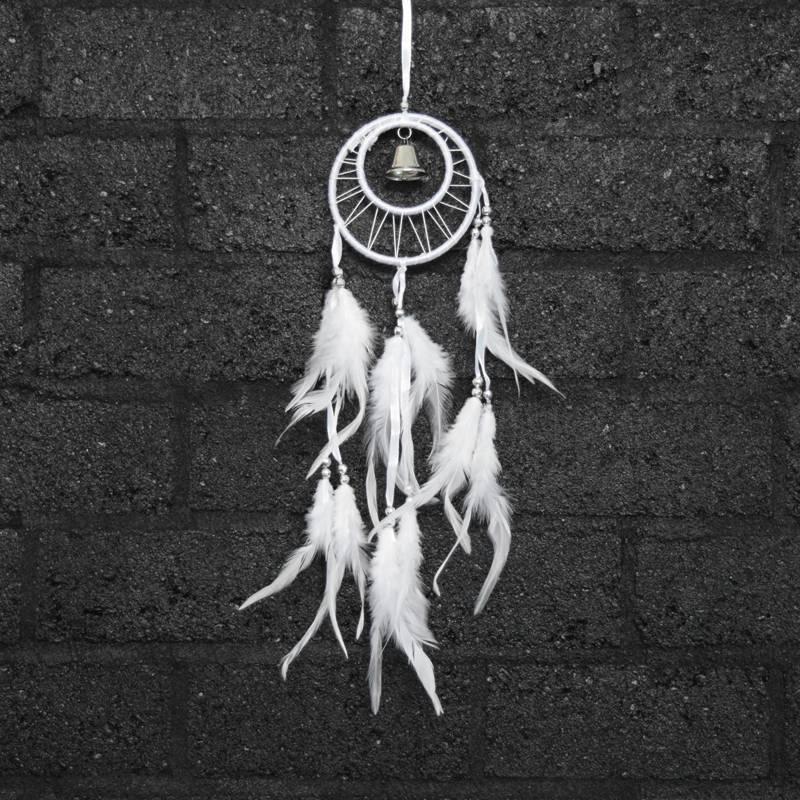 Witte dromenvanger met dubbele ring en belletje