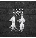 Witte dromenvanger met dubbele hartvorm ringen