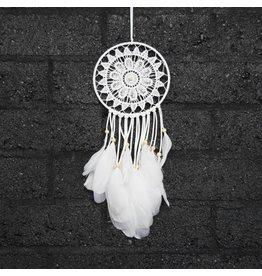 Witte gehaakte dromenvanger met 1 ring