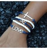 5-delige wit en blauwe armband Verzoening