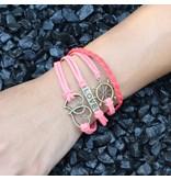 4-delige rood en roze armband Liefde