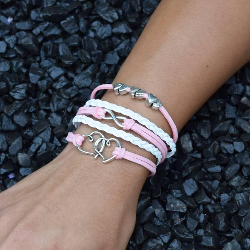 5-delige wit en roze armband Hartjes