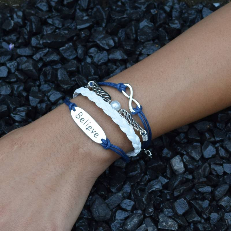4-delige wit en blauwe armband Geloof