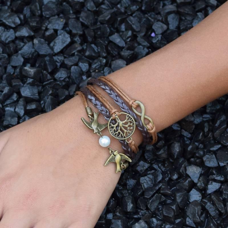 5-delige licht en donkerbruine armband Levensboom