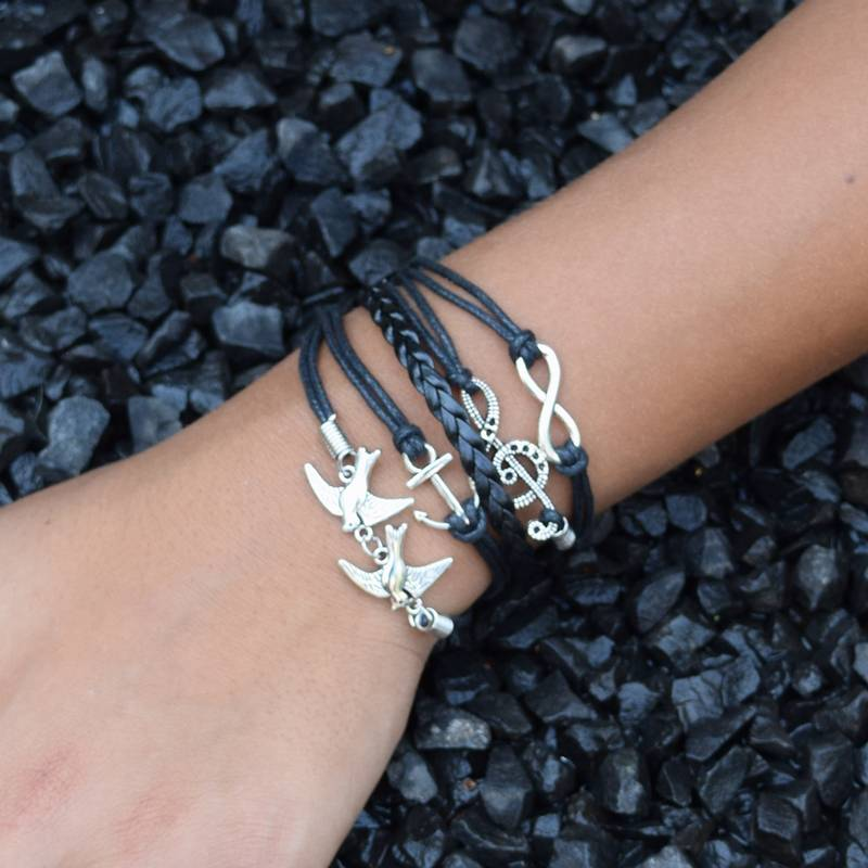 5-delige zwarte armband Duiven
