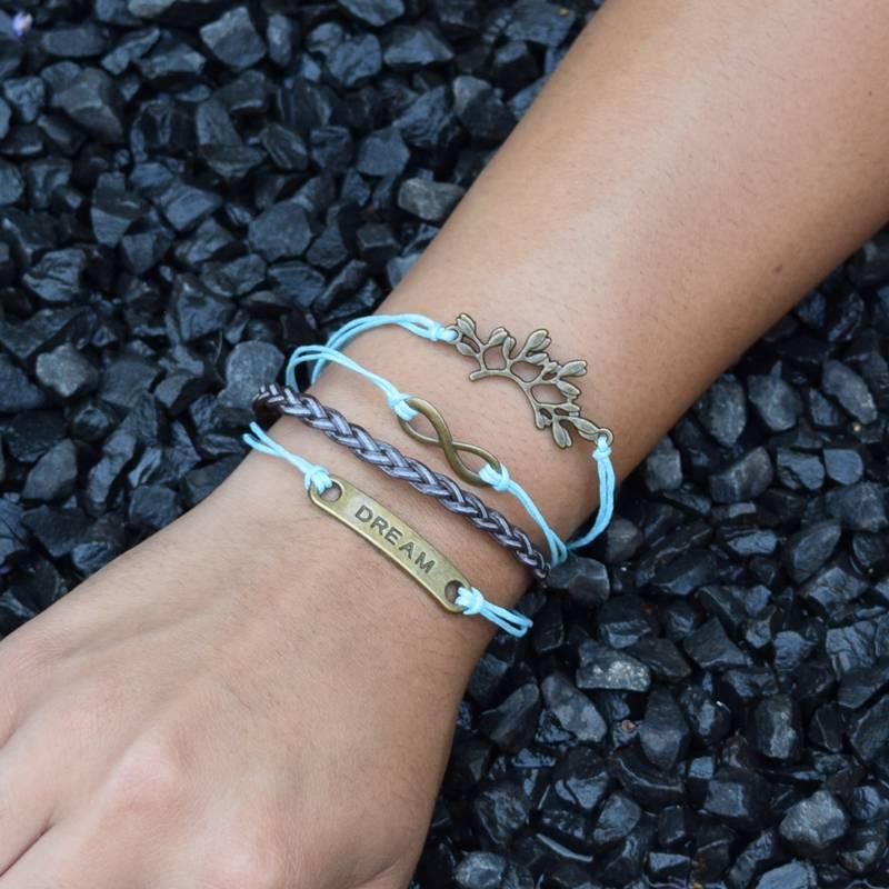 4-delige lichblauw en bruine armband Droom