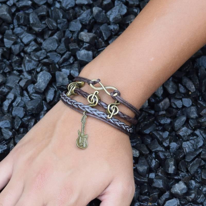 4-delige bruine armband Hartstocht