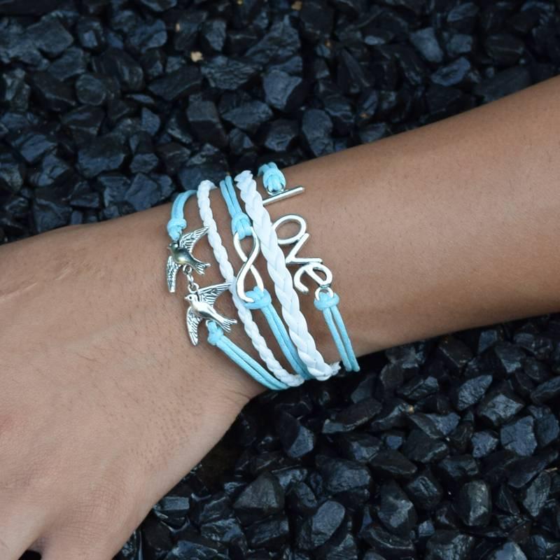 5-delige wit en turquoise armband Liefde