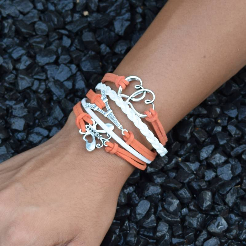 5-delige wit en oranje armband Huwelijksgeluk