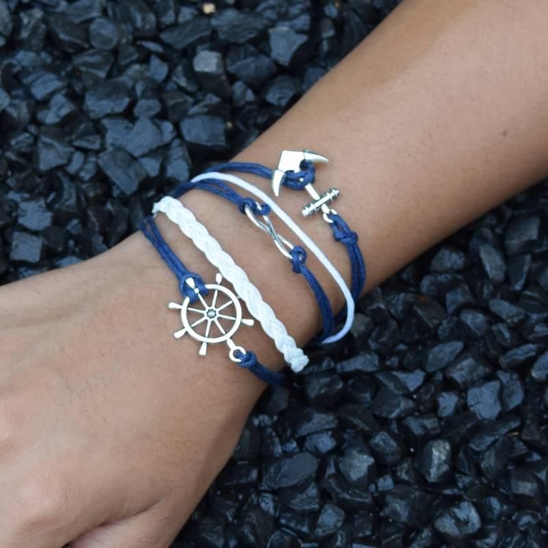 5-delige wit en blauwe armband Vertrouwen