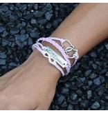 4-delige roze armband Vriendschap