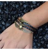 5-delige zwart en bruine armband Schedel