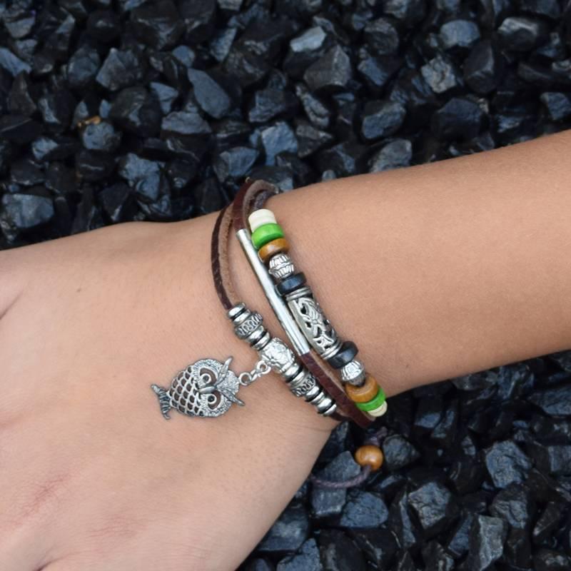 3-delige bruin lederen armband Wijsheid