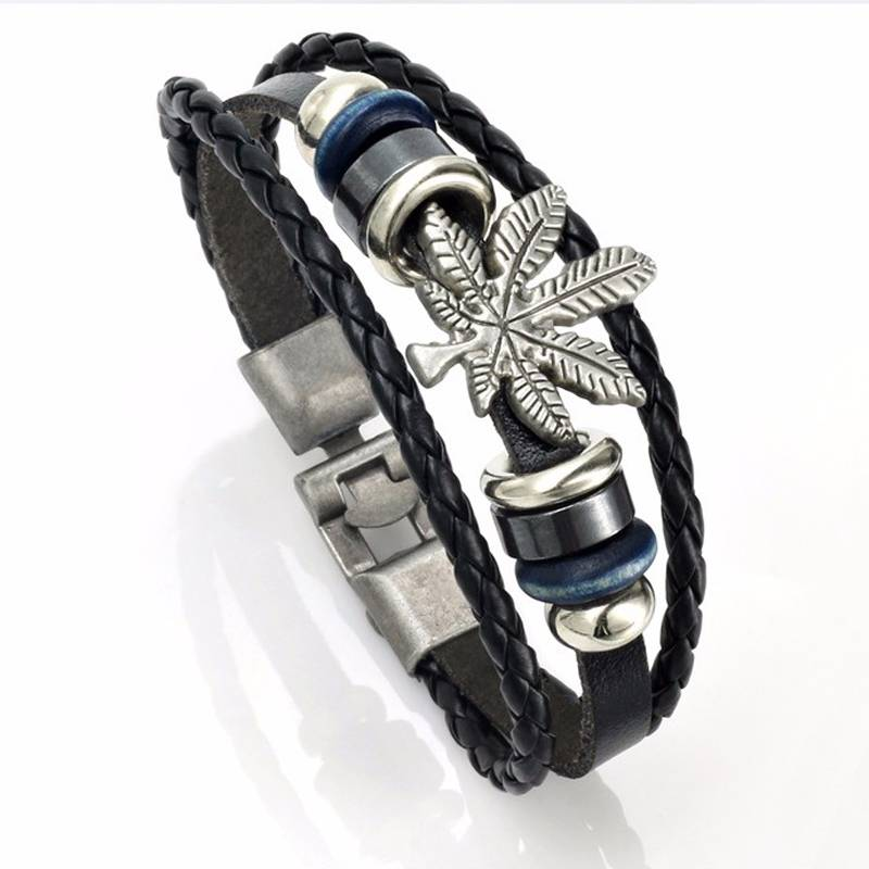 3-delige zwarte armband Esdoornblad