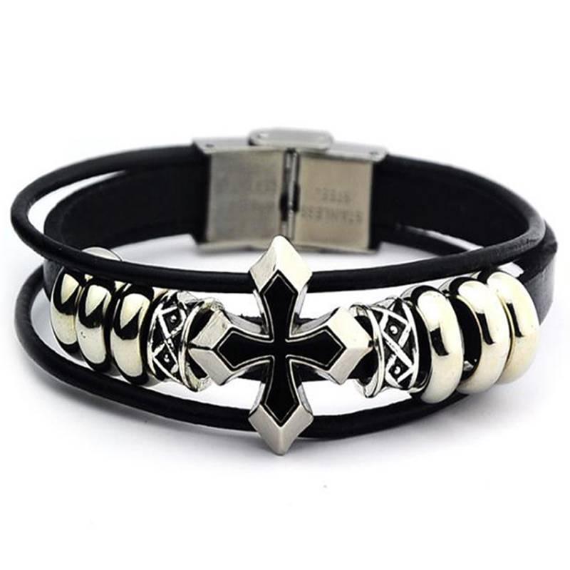 3-delige zwarte armband Kruis