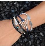 5-delige zwart wit en blauwe armband Wijsheid