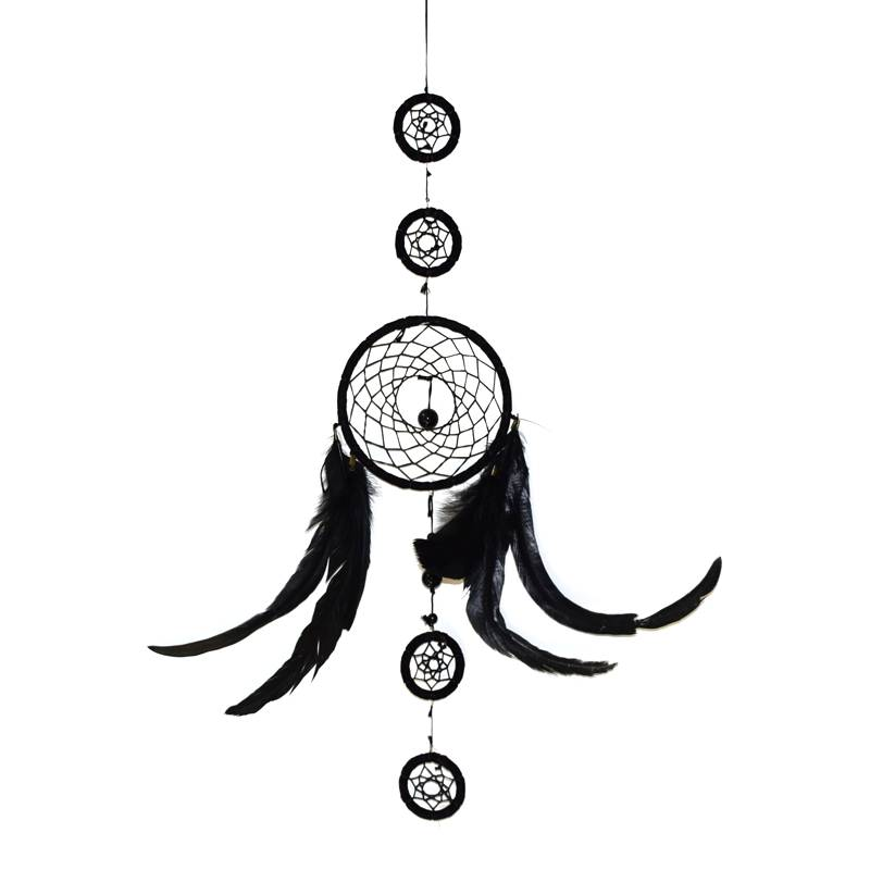 Zwarte dromenvanger met  5  ringen