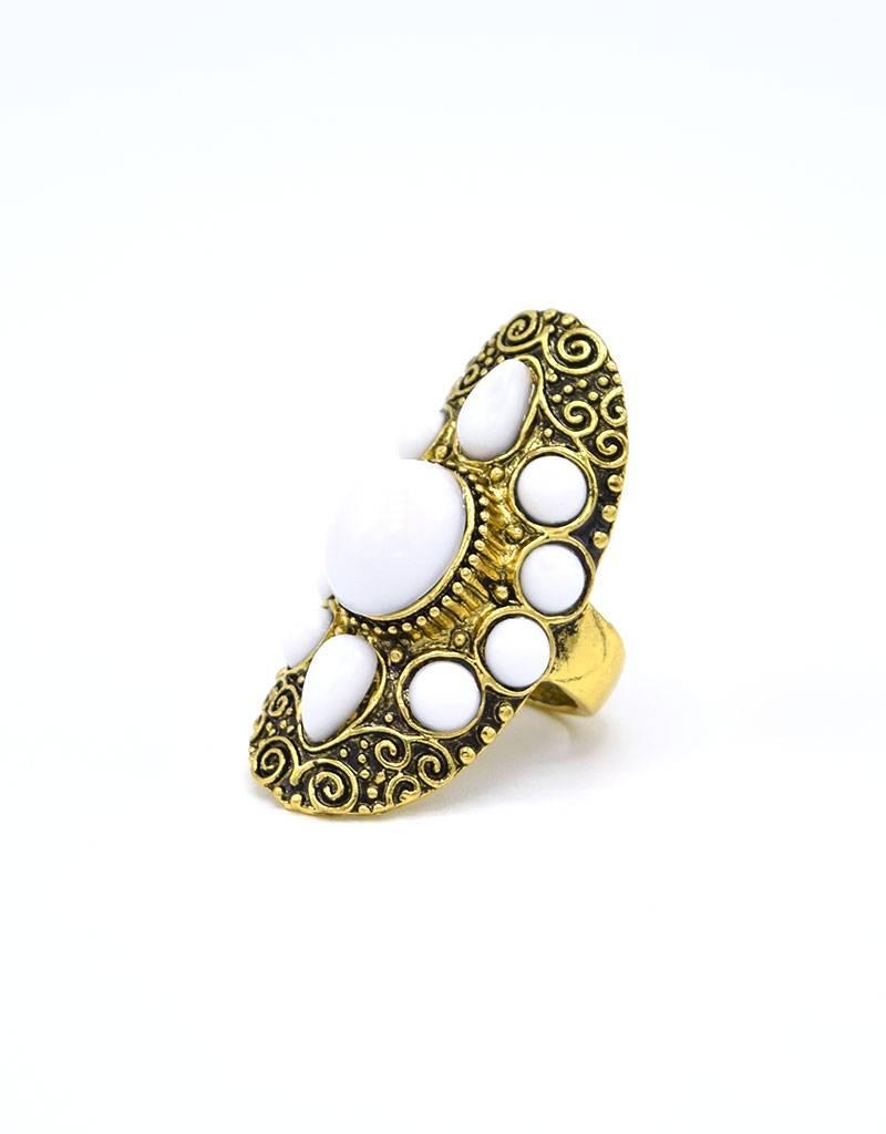 Witte Antiek vergulde Bohemian Ring