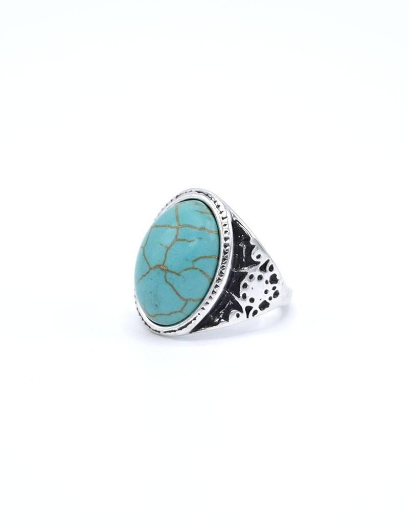Turquoise Antiek Verzilverde Bohemian Ring