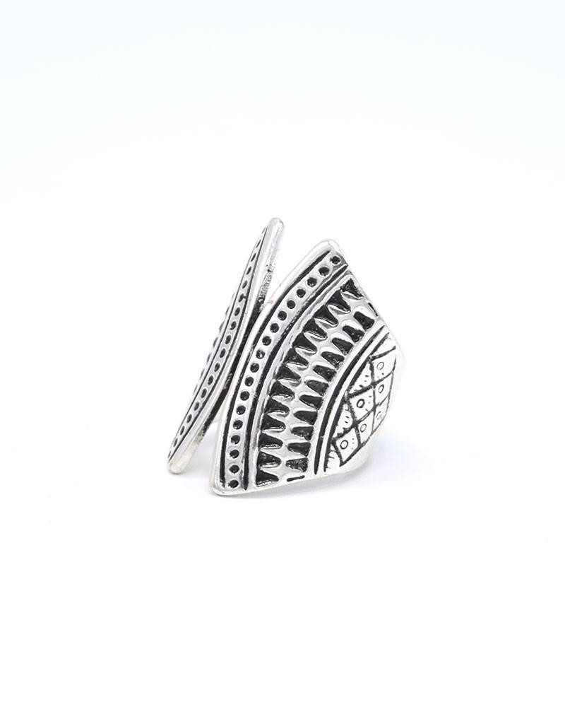 Antiek verzilverde Bohemian Ring