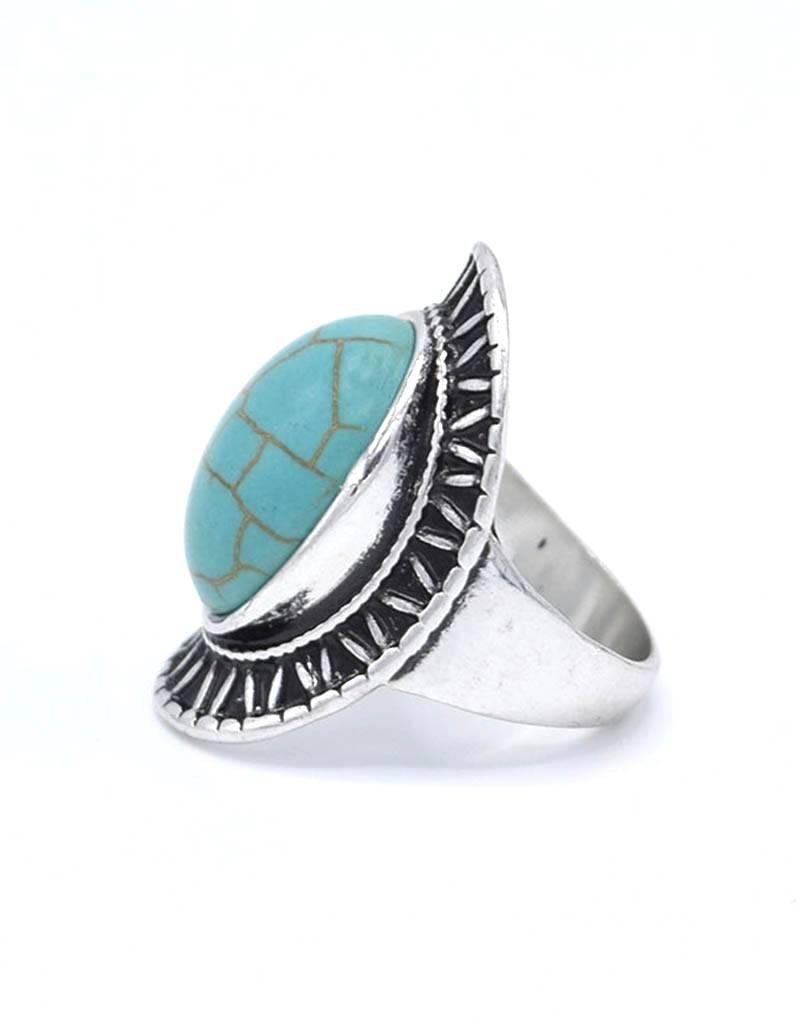 Turquoise antiek verilverde Bohemian Ring