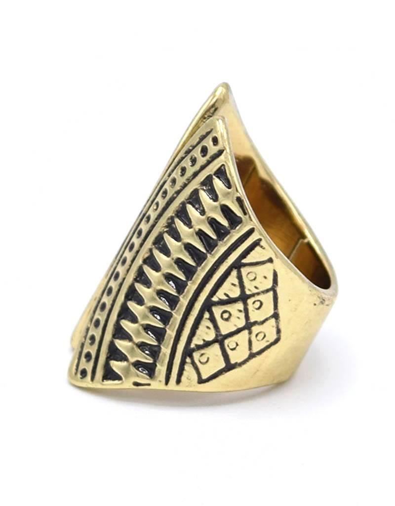 Antiek Vergulde Bohemian Ring