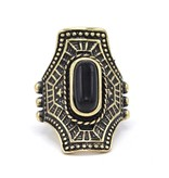 Zwarte Antiek Vergulde Bohemian Ring