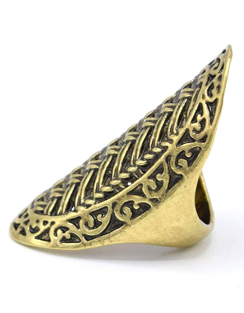 Stoere Antiek Vergulde Vintage Ring