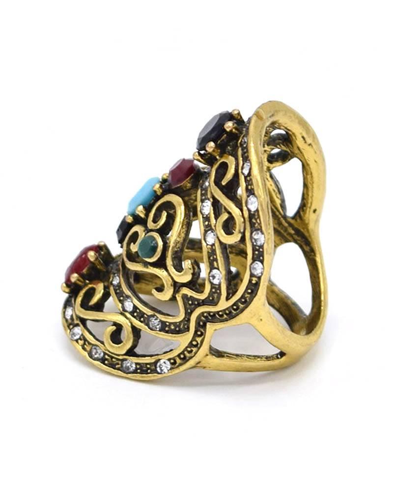 Sierlijke Antiek Vergulde Multicolor Vintage Ring