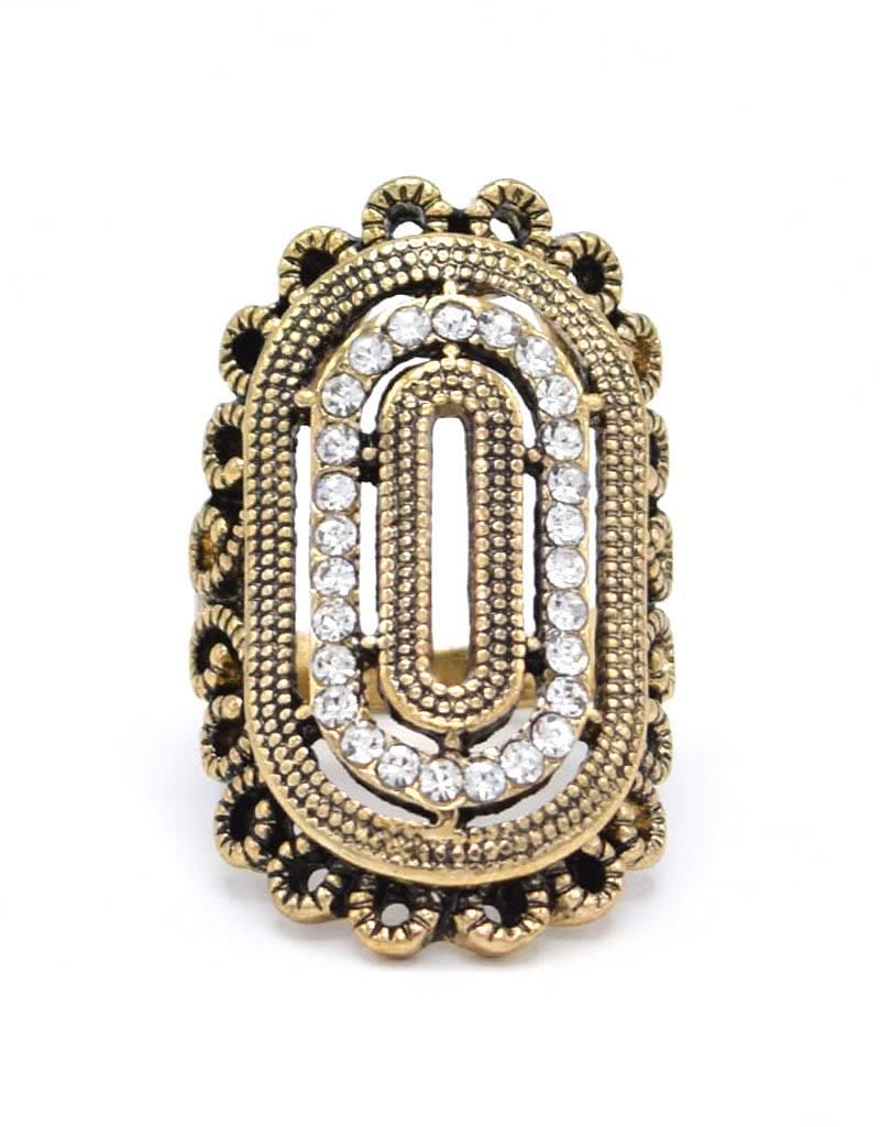 Sierlijke Antiek Vergulde Vintage Ring