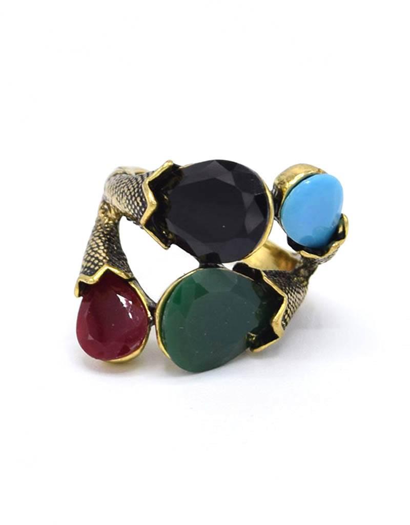 Opvallende Antiek Vergulde Multicolor Vintage Ring