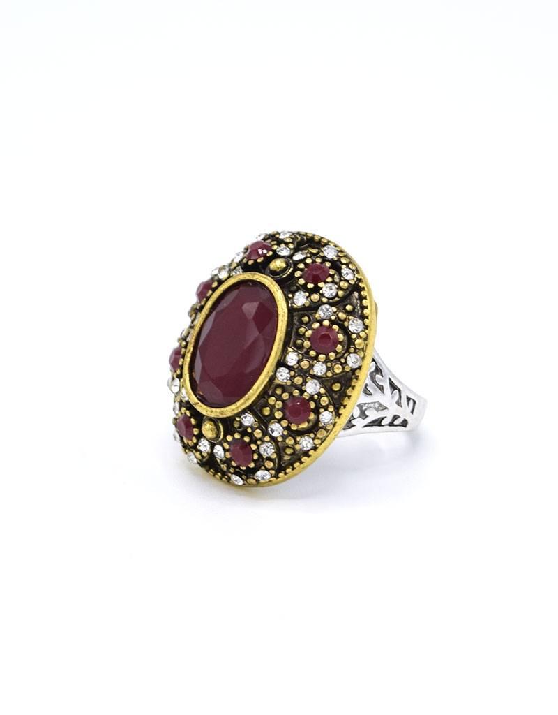 Koraalrode Antiek Vergulde en Verzilverde Vintage Ring