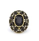 Zwarte Antiek Vergulde en Verzilverde Vintage ring