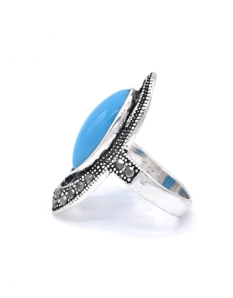 Turquoise  Antiek Verzilverde Vintage ring
