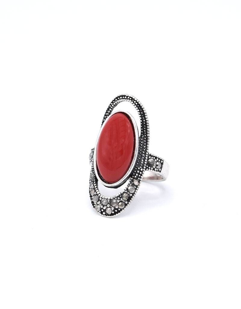 Koraalrode Antiek verzilverde Vintage Ring