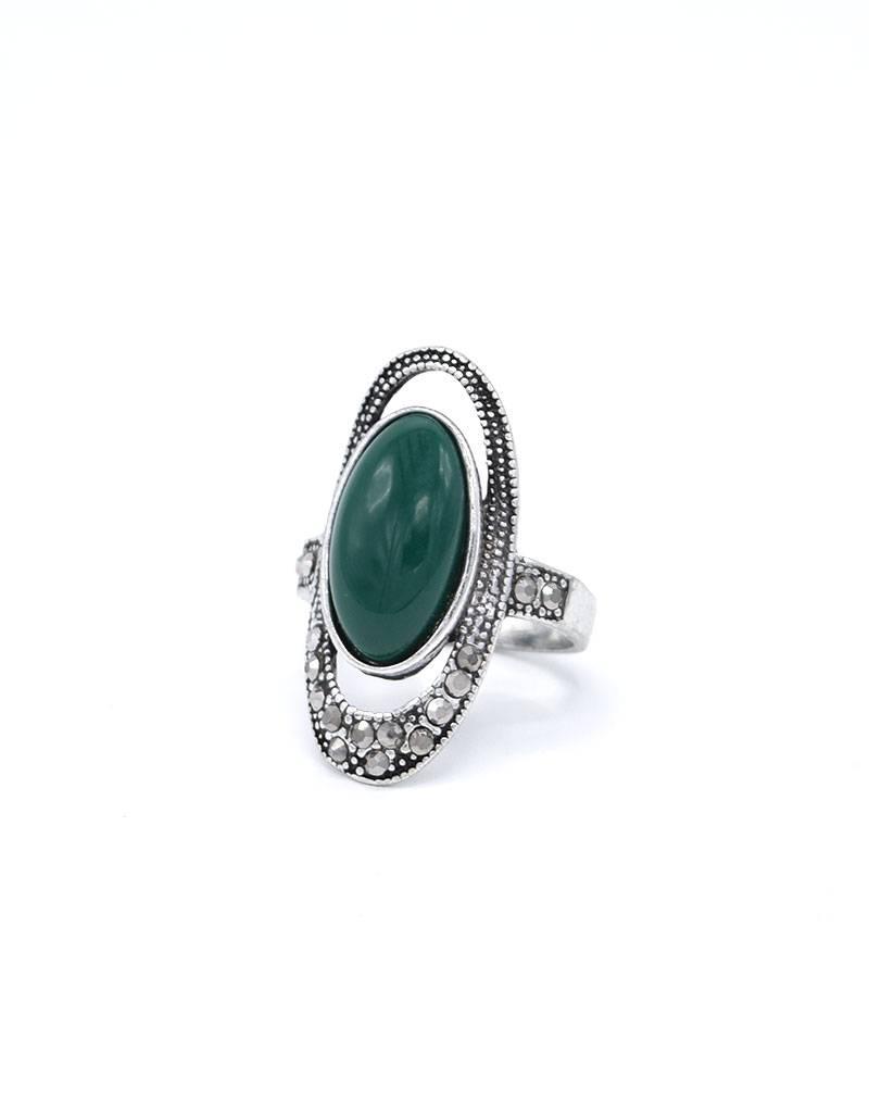 Groene Antiek Verzilverde Vintage Ring