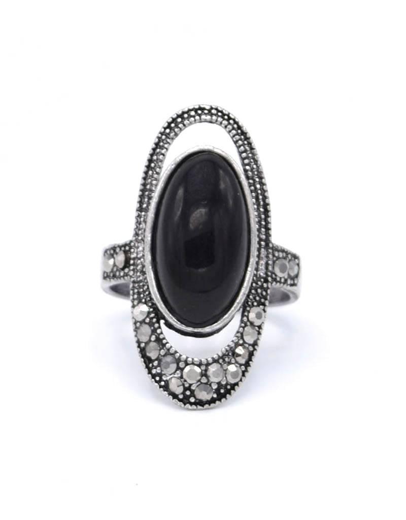 Zwarte Antiek Verzilverde Vintage Ring