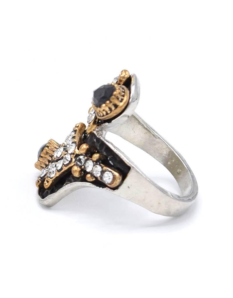 Antiek Vergulde Zwarte Vintage Ring